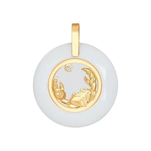 Керамическая подвеска «Знак зодиака Рак» из золота