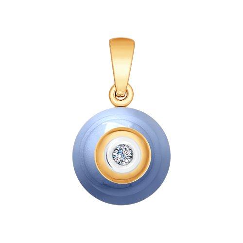 Подвеска из золота с бриллиантом и голубой керамикой