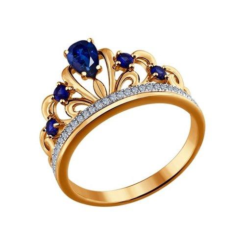 Кольцо из золота с бриллиантами и гидротермальными сапфирами