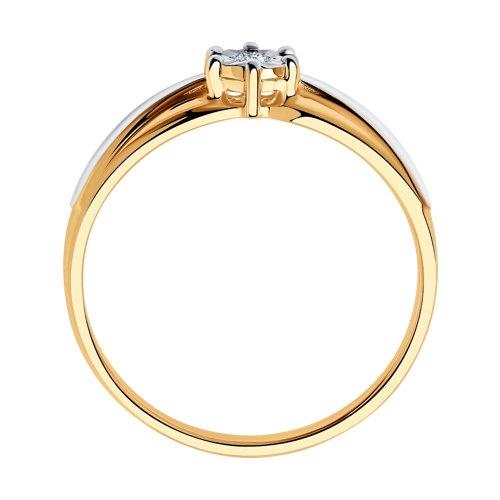 Кольцо из комбинированного золота с алмазной гранью с бриллиантом (1011578) - фото №2