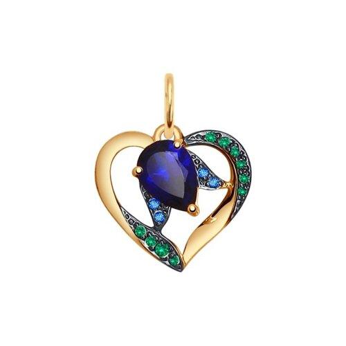 Подвеска «Сердце» из золота с корундом сапфировым и зелеными и синими фианитами