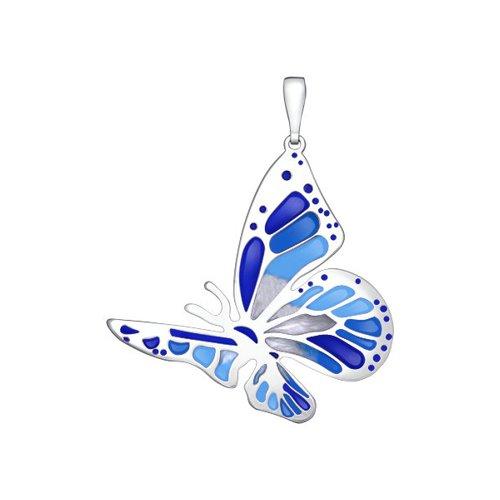 Подвеска бабочка из серебра с голубой и синей эмалью