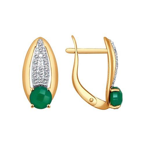 Серьги из золота с зелёными агатами