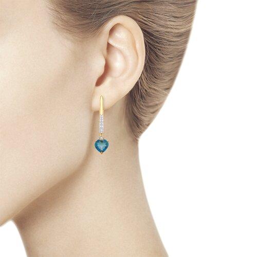 Серьги из золота с синими топазами и фианитами (725350) - фото №3