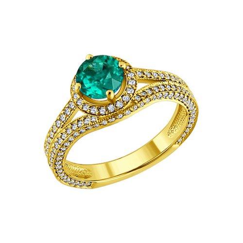 Кольцо SOKOLOV из жёлтого золота с бриллиантами и изумрудом sargon jewelry подвеска с изумрудом и бриллиантами из жёлтого золота pm1344 2024