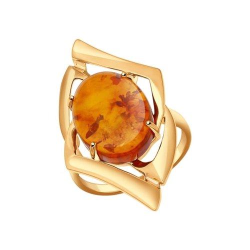 Кольцо из золота с янтарём (714404) - фото