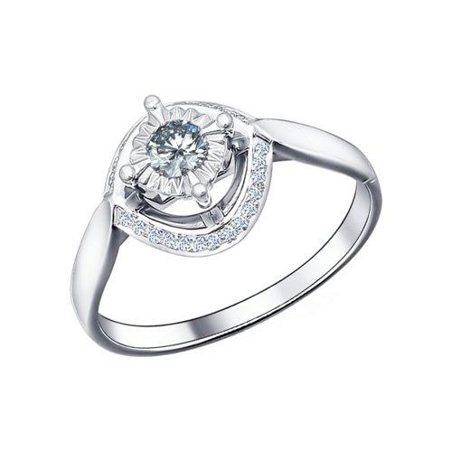 Кольцо из белого золота с бриллиантами (1011034) - фото