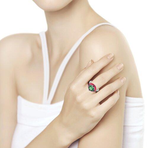 Кольцо из серебра с эмалью с зелёным ситаллом и зелеными и сиреневыми фианитами (92011701) - фото №2