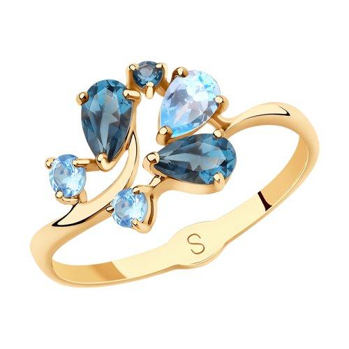 Кольцо из золота с голубыми и синими топазами (715644) - фото