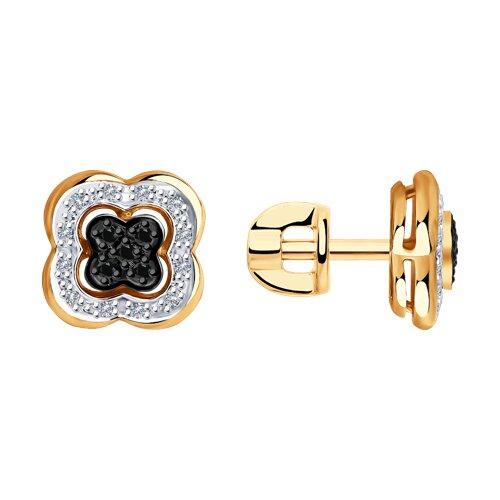 Серьги из золота с бесцветными и чёрными бриллиантами