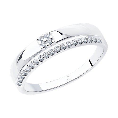Кольцо из серебра с фианитами (94012213) - фото