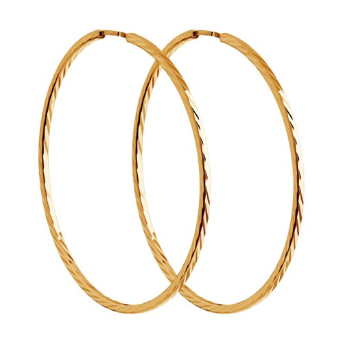 Серьги конго из золота с алмазной гранью (140067) - фото