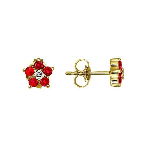 Серьги-пусеты из жёлтого золота с красными фианитами серьги пусеты из жёлтого золота с фианитами
