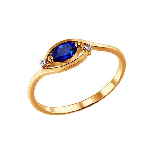 Кольцо из золота с бриллиантами и сапфиром (2010953) - фото