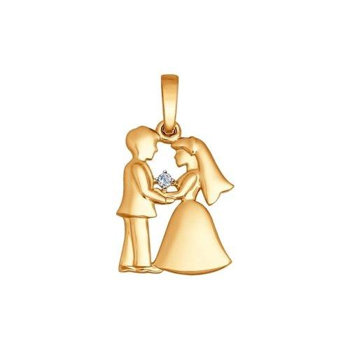 Подвеска «Love» из золота с бриллиантом