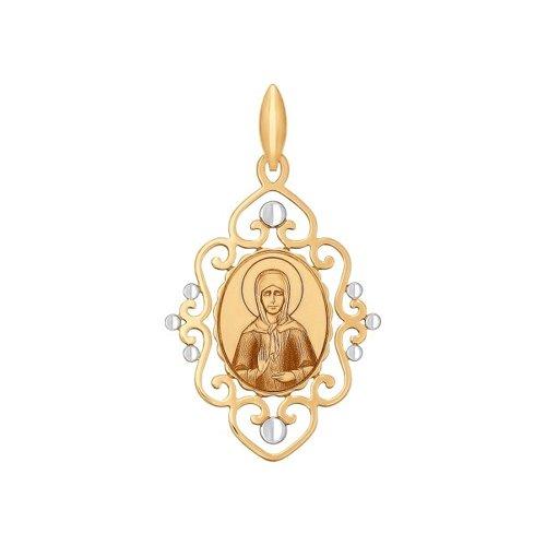 Нательная иконка из золота с ликом Святой блаженной Матроны Московской (101733) - фото