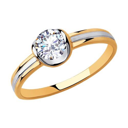 Кольцо из золота с фианитом (018246) - фото