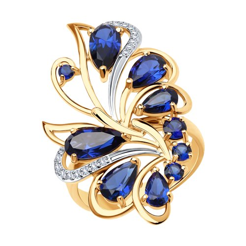 Кольцо из золота с корундами и фианитами 716068 SOKOLOV фото