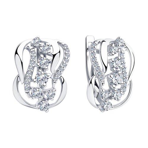 Серьги из серебра с фианитами (94023440) - фото №2