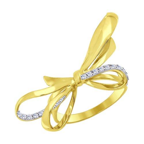 Кольцо из желтого золота с фианитами (017045-2) - фото