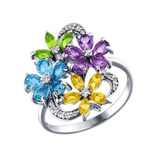 Кольцо с цветками SOKOLOV из полудрагоценных камней золотое кольцо с двумя цветками sokolov