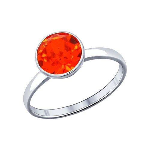 Кольцо из серебра с оранжевым кристаллом Swarovski (94011940) - фото