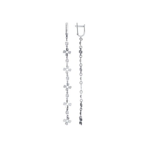 Серьги длинные SOKOLOV из серебра с алмазной гранью с фианитами запонки sokolov из серебра с эмалью алмазной гранью карбоном и фианитами