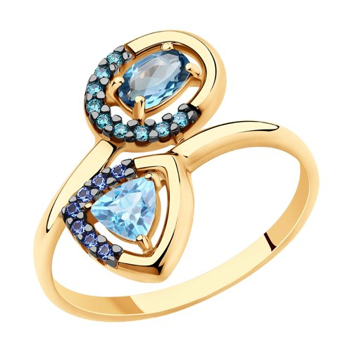 Кольцо из золота с голубым и синим топазами и фианитами