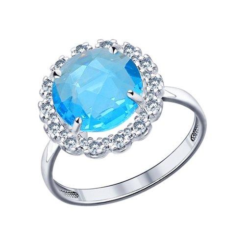 Кольцо SOKOLOV из серебра с голубой стеклянной вставкой и фианитами ювелирное кольцо sokolov