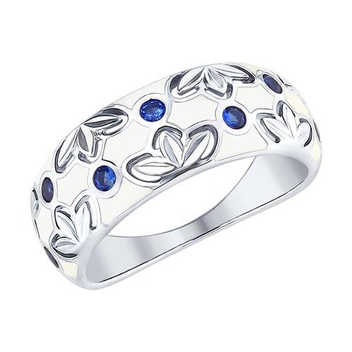 Кольцо из серебра с эмалью и фианитами (94012510) - фото