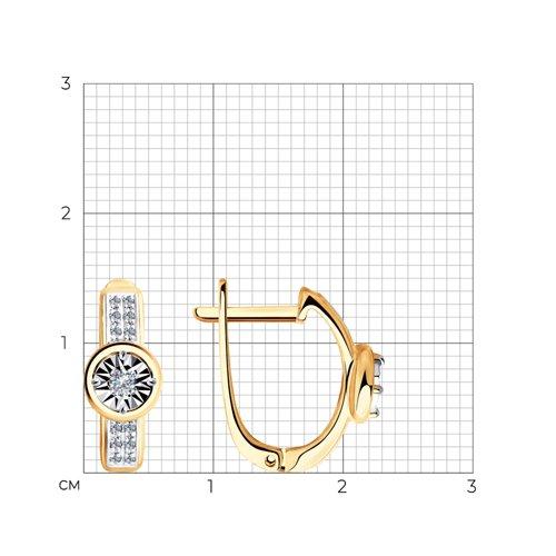Серьги из комбинированного золота с бриллиантами 1021296 SOKOLOV фото 2