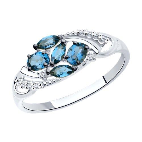 Кольцо из белого золота с синими топазами и фианитами 714241-3 SOKOLOV фото