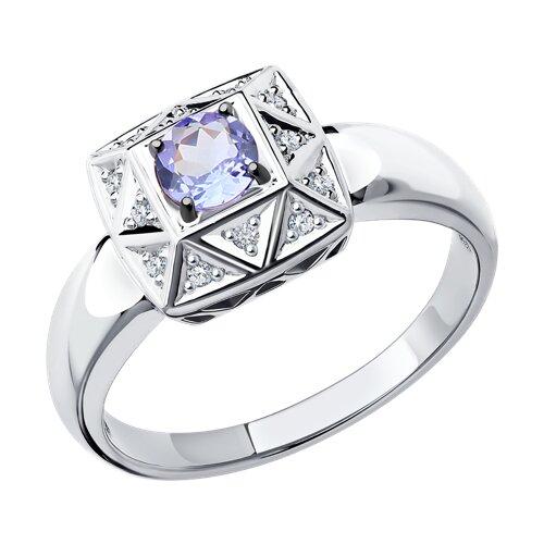 Кольцо из белого золота с бриллиантами и танзанитом (6014053) - фото