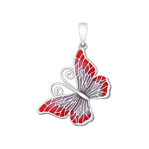 Подвеска бабочка SOKOLOV из серебра с красно-розовой эмалью
