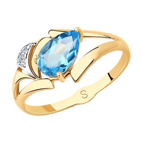 Кольцо из золота с топазом и фианитами (715669) - фото