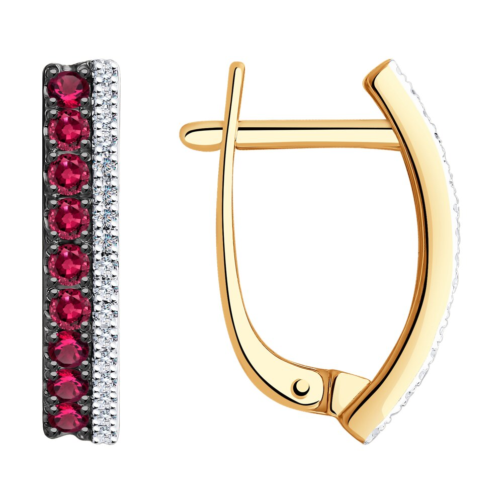 Фото - Серьги SOKOLOV из золота с дорожками бриллиантов и рубинов кольцо золотое с рубином и дорожками бриллиантов sokolov