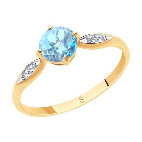 Кольцо из золота с топазом и фианитами (715743) - фото