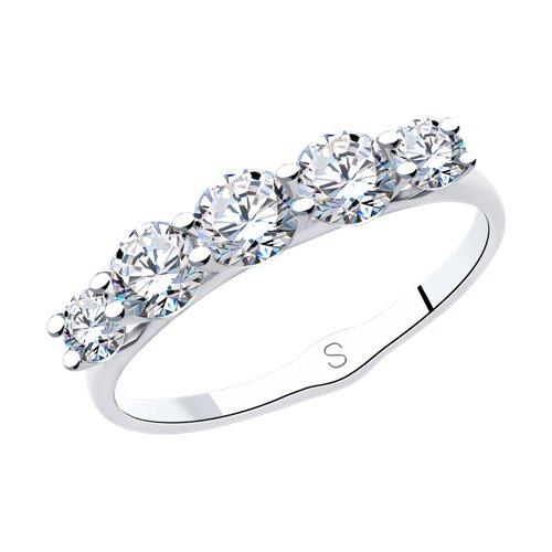 Кольцо из серебра с фианитами (94013012) - фото