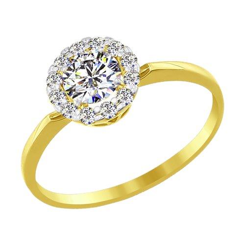 Кольцо из желтого золота со Swarovski Zirconia (81010207-2) - фото