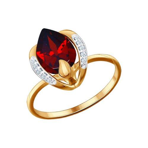Кольцо из золота с гранатом и фианитами (713326) - фото