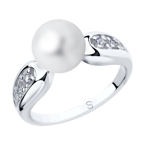Классическое серебряное кольцо с жемчугом Swarovski и фианитами (94012649) - фото