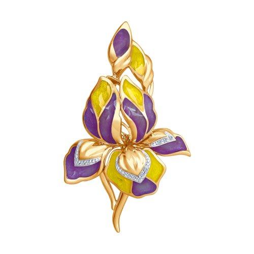 Брошь в форме цветка с эмалью и бриллиантами