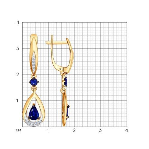 Серьги длинные из золота с бриллиантами и сапфирами (2020867) - фото №2