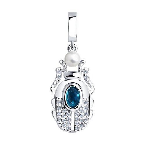 Подвеска SOKOLOV из серебра с жемчугом Swarovski, кристаллом Swarovski и фианитами серьга из серебра с жемчугом swarovski и синим кристаллом swarovski