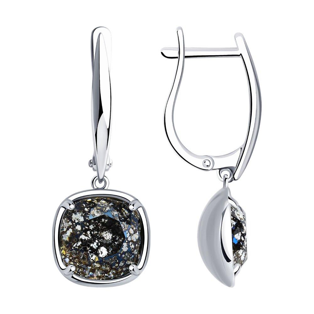 Серьги SOKOLOV из серебра с чёрными кристаллами Swarovski серебряные серьги с чёрными кристаллами swarovski