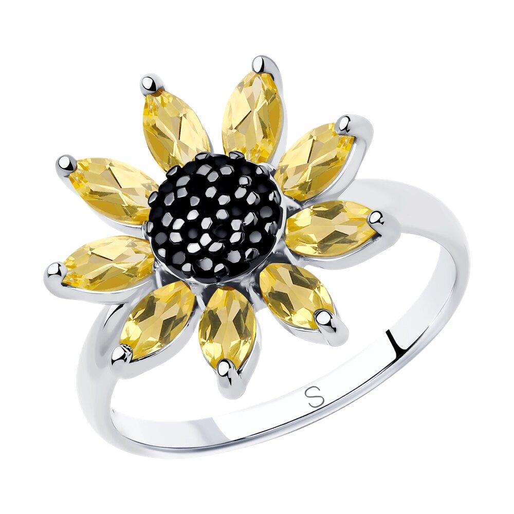 Фото - Кольцо SOKOLOV из серебра с цитринами и фианитами кольцо из серебра с цитринами и фианитами