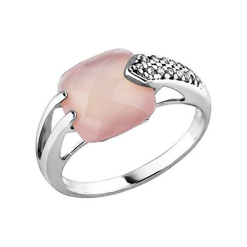 Серебряное кольцо с квадратным агатом и фианитами SOKOLOV