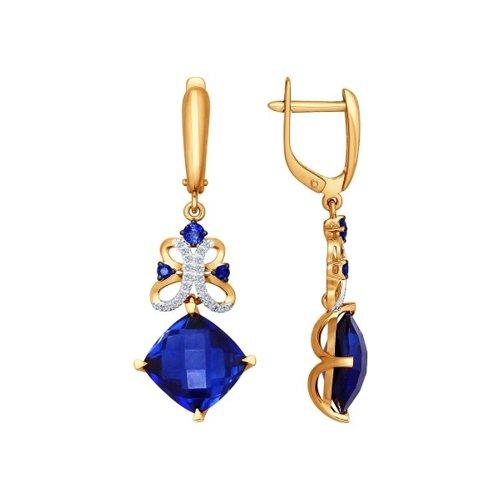 Серьги длинные из золота с бриллиантами и корундами сапфировыми (синт.) (6022042) - фото