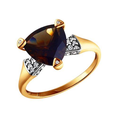 Кольцо из золота с раухтопазом и фианитами