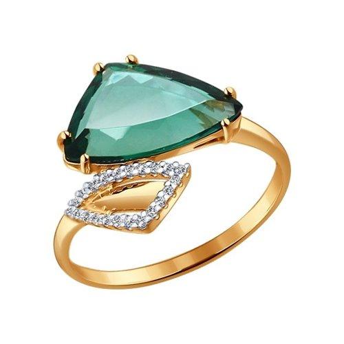 Кольцо из золота с кварцем и фианитами (714114) - фото